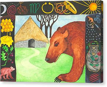 Earth Bear Healing Canvas Print by Cat Athena Louise