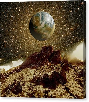 Earth-like Planet And Omega Centauri Canvas Print by Detlev Van Ravenswaay