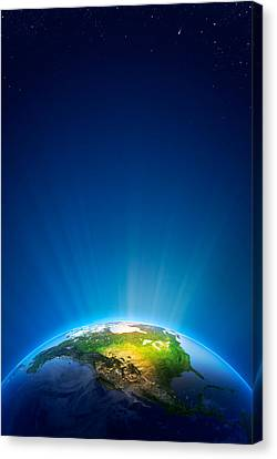 Earth Radiant Light Series - North America Canvas Print by Johan Swanepoel