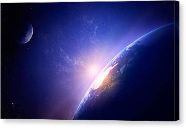 Earth Sunrise In Foggy Space Canvas Print by Johan Swanepoel