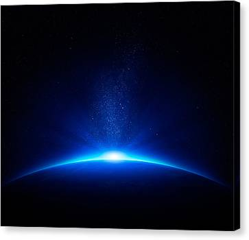 Earth Sunrise In Space Canvas Print by Johan Swanepoel