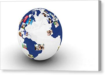 Earth With People Photos In Network Canvas Print by Michal Bednarek