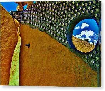 Earthship Taos Canvas Print by Monica Moran