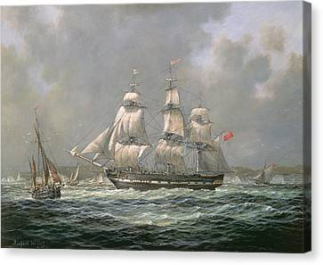 East Indiaman Hcs Thomas Coutts Off The Needles     Isle Of Wight Canvas Print by Richard Willis