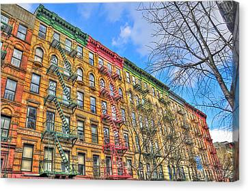 East Village Buildings On East Fourth Street And Bowery Canvas Print by Randy Aveille