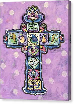 Easter Cross On Orchid Canvas Print by Jen Norton