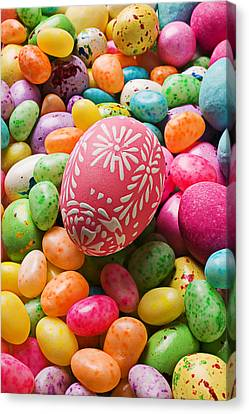 Easter Egg And Jellybeans  Canvas Print by Garry Gay