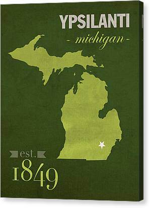 Eastern Michigan University Eagles Ypsilanti College Town State Map Poster Series No 035 Canvas Print by Design Turnpike