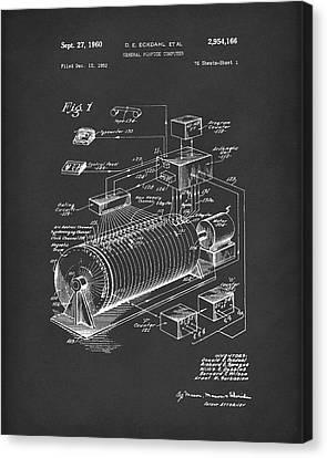 Eckdahl Computer 1960 Patent Art Black Canvas Print by Prior Art Design
