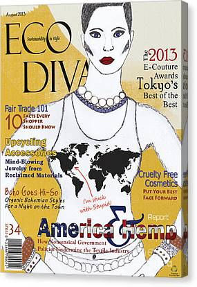 Eco Diva Spoof Magazine Cover Canvas Print by Nola Lee Kelsey