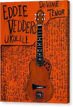 Eddie Vedder Ukulele Canvas Print by Karl Haglund