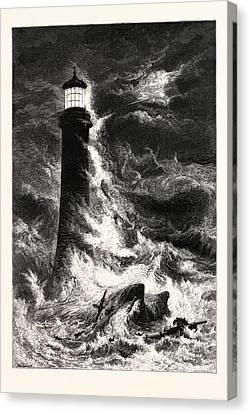 Eddystone Lighthouse, Uk, Britain, British Canvas Print by English School