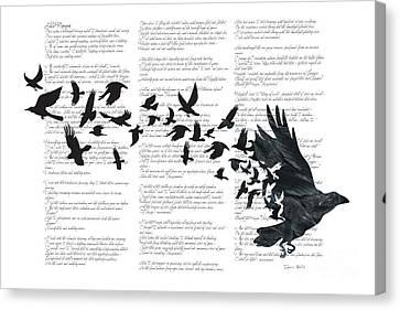 Edgar Alan Crow Canvas Print by Sassan Filsoof