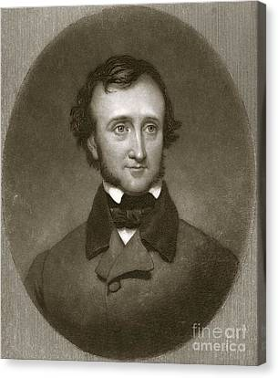 Edgar Allan Poe, Us Author And Poet Canvas Print by British Library