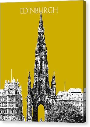 Edinburgh Skyline Scott Monument - Gold Canvas Print by DB Artist