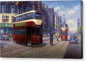 Edinburgh Tram 1953. Canvas Print by Mike  Jeffries