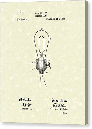 Edison Electric Lamp 1882 Patent Art Canvas Print by Prior Art Design