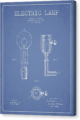 Edison Electric Lamp Patent From 1882 - Light Blue Canvas Print by Aged Pixel
