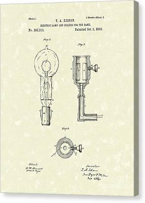 Edison Lamp 1882 Patent Art Canvas Print by Prior Art Design