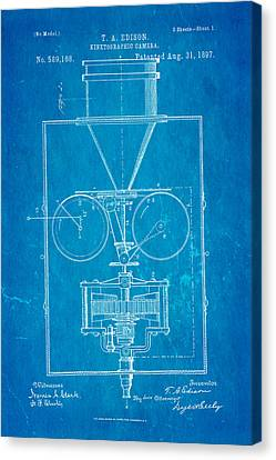 Edison Motion Picture Camera Patent Art 1897 Blueprint Canvas Print by Ian Monk