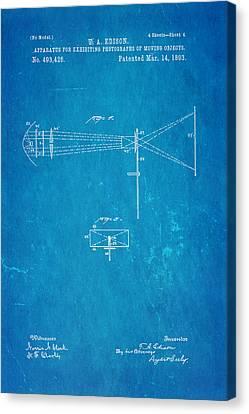 Edison Motion Picture Patent Art 2 1893 Blueprint Canvas Print by Ian Monk