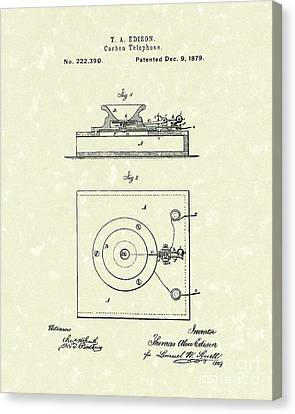 Edison Telephone 1879 Patent Art Canvas Print by Prior Art Design