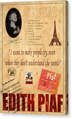 Edith Piaf Canvas Print by Andrew Fare