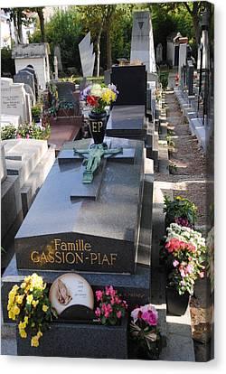 Edith Piaf Gravesite At Pere Lachaise Paris Canvas Print by Jacqueline M Lewis