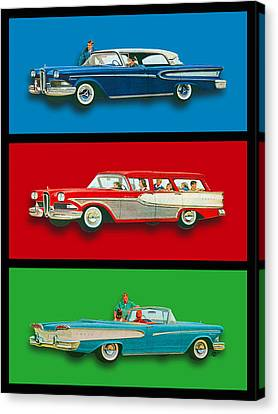 Edsel Car Advertisement Black Border Canvas Print by Tony Rubino