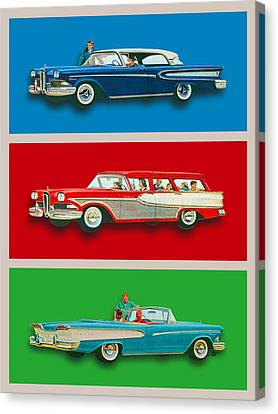 Edsel Car Advertisement Gray Border Canvas Print by Tony Rubino