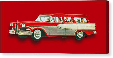 Edsel Car Advertisement Wagon Red Canvas Print by Tony Rubino