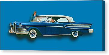 Edsel Citation Car Advertisement Sedan Blue Canvas Print by Tony Rubino