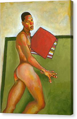 Eduardo On Green Blanket Canvas Print by Douglas Simonson