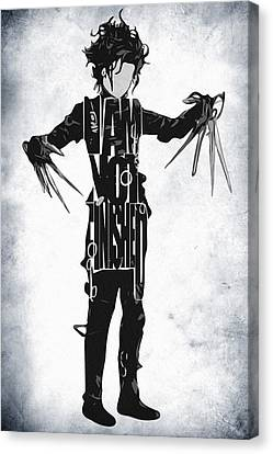 Edward Scissorhands - Johnny Depp Canvas Print by Ayse Deniz
