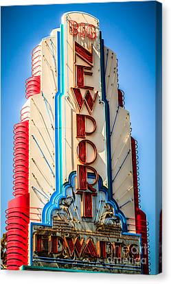 Edwards Big Newport Theatre Sign In Newport Beach Canvas Print by Paul Velgos