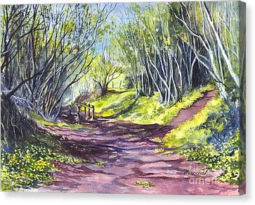 Taking A Walk Down A Spring Lane Canvas Print by Carol Wisniewski