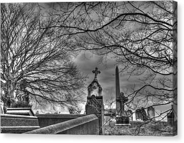 Eerie Graveyard Canvas Print by Jennifer Ancker