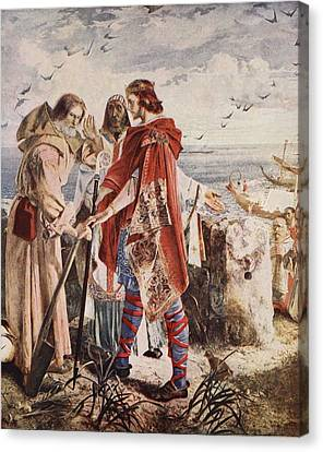 Egfrith Offering The Bishopric Canvas Print by William Bell Scott