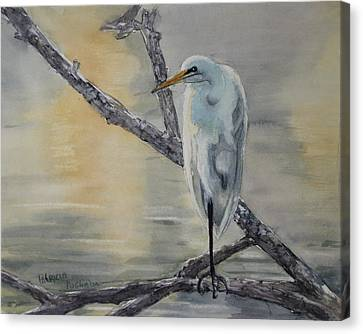Egret At Dusk Canvas Print by Patricia Pushaw