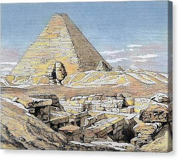 Egypt Pyramids And Sphinx Colored Canvas Print by Prisma Archivo