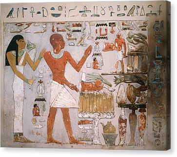 Egyptian Wall Fragment From The Tomb Of Amenemhet And Wife Hemet Canvas Print by Mountain Dreams