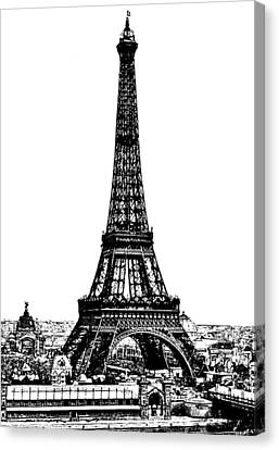Eiffel Tower Drawing 19th Century Canvas Print by