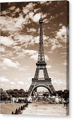 Eiffel Tower In Sepia Canvas Print by Elena Elisseeva