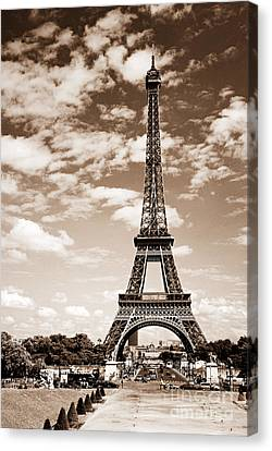 Eiffel Tower In Sepia Canvas Print by Elena Elisseeva