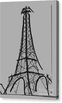 Eiffel Tower Lines Canvas Print by Robyn Saunders