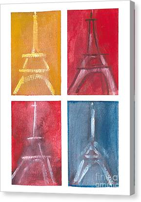 Eiffel Tower Paintings Of 4 Up Canvas Print by Robyn Saunders