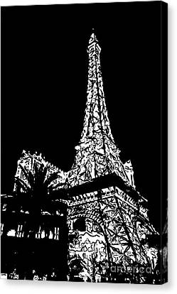 Eiffel Tower Paris Hotel Las Vegas - Pop Art - Black And White Canvas Print by Ian Monk