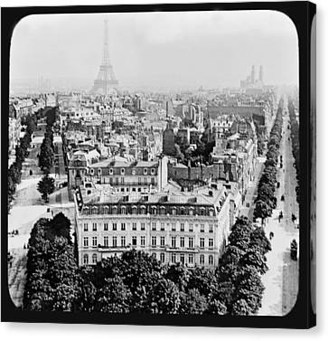 Canvas Print featuring the photograph Eiffel Tower Paris Rooftops1903 by A Gurmankin