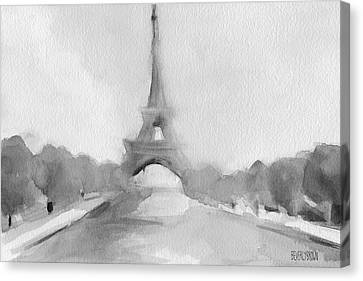 Eiffel Tower Watercolor Painting - Black And White Canvas Print by Beverly Brown Prints
