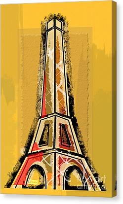 Eiffel Tower Yellow And Red Canvas Print by Robyn Saunders